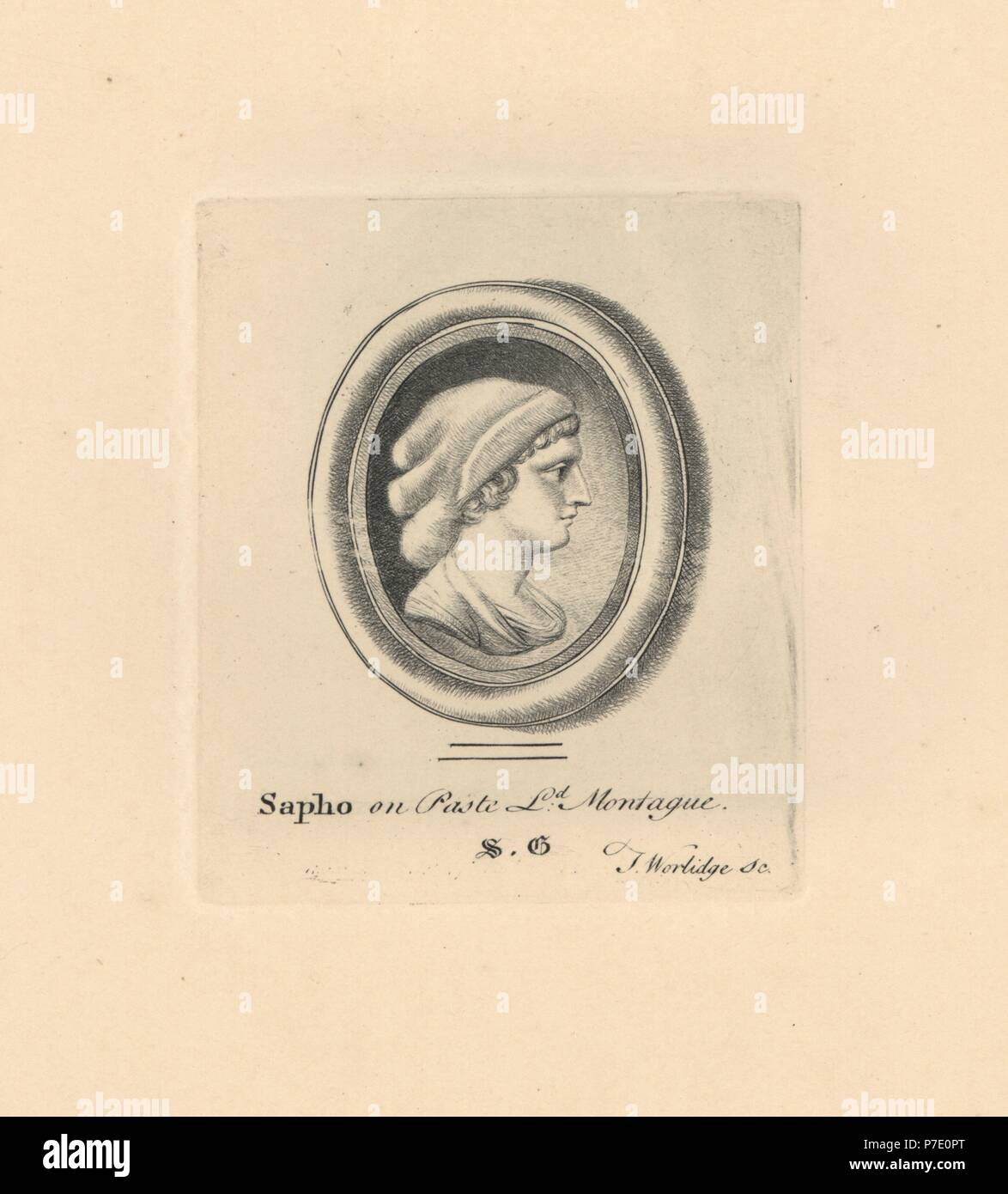 Portrait of Sapho or Sappho, Greek lyric poet from the island of Lesbos, in woven cap, on paste in Lord Montague's collection. Copperplate engraving by Thomas Worlidge from James Vallentin's One Hundred and Eight Engravings from Antique Gems, 1863. - Stock Image