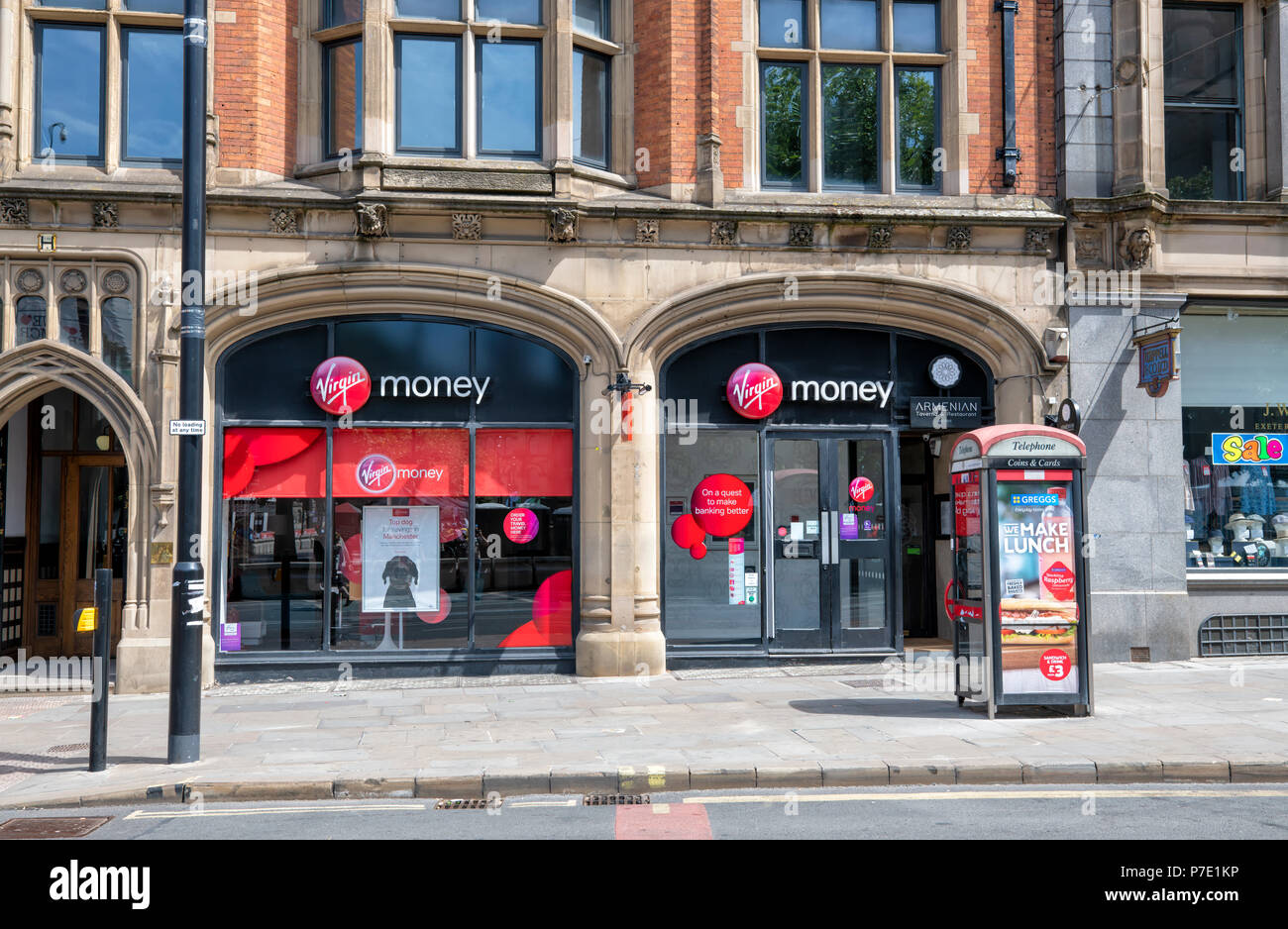 A branch of Virgin Money in the centre of Manchester, UK - Stock Image