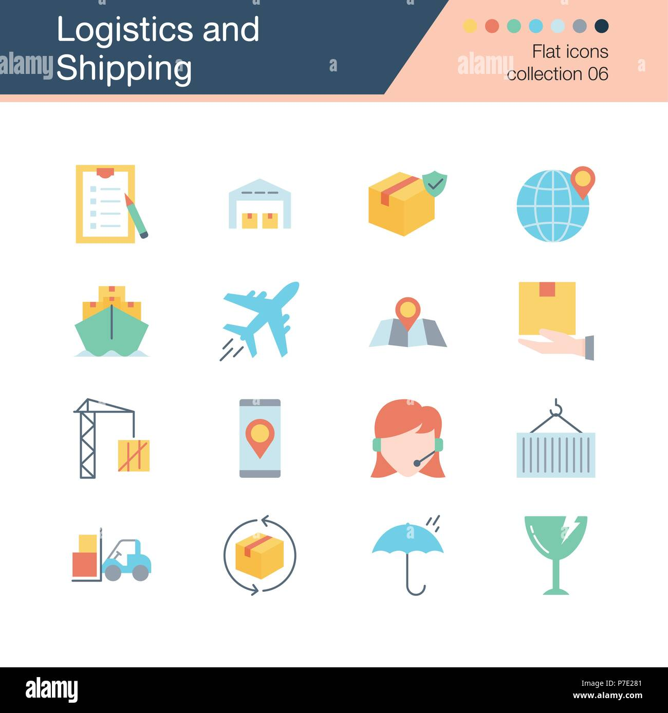 Logistics and Shipping icons. Flat design collection 6. For presentation, graphic design, mobile application, web design, infographics. Vector illustr - Stock Image