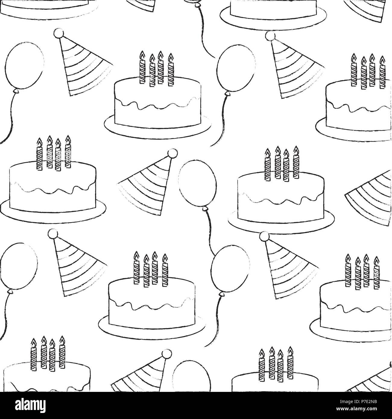 Birthday Cake Candles Party Hat Balloons Pattern Vector Illustration Sketch
