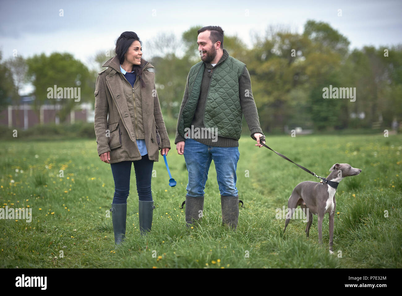 Woman and man walking dog in field - Stock Image