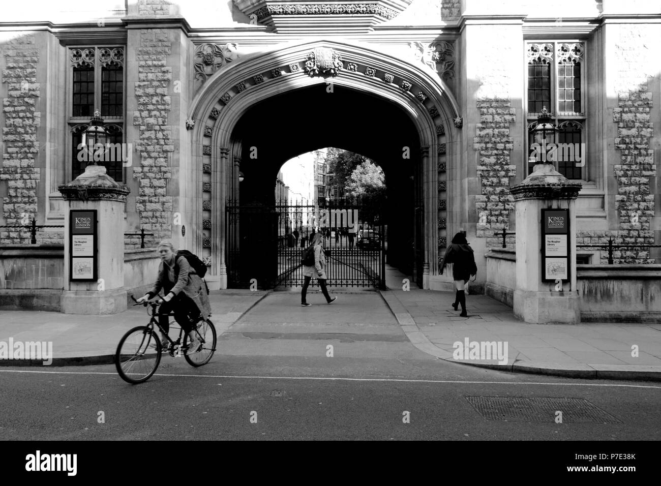 Maughan Library Gate of Kings College London, UK, designed by Sir James Pennethorne. - Stock Image