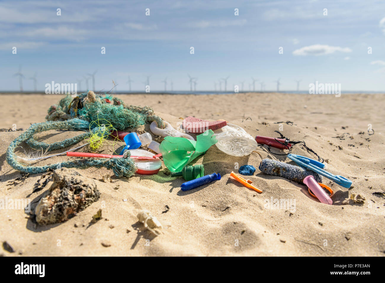 Plastic pollution collected on beach, North East England, UK - Stock Image