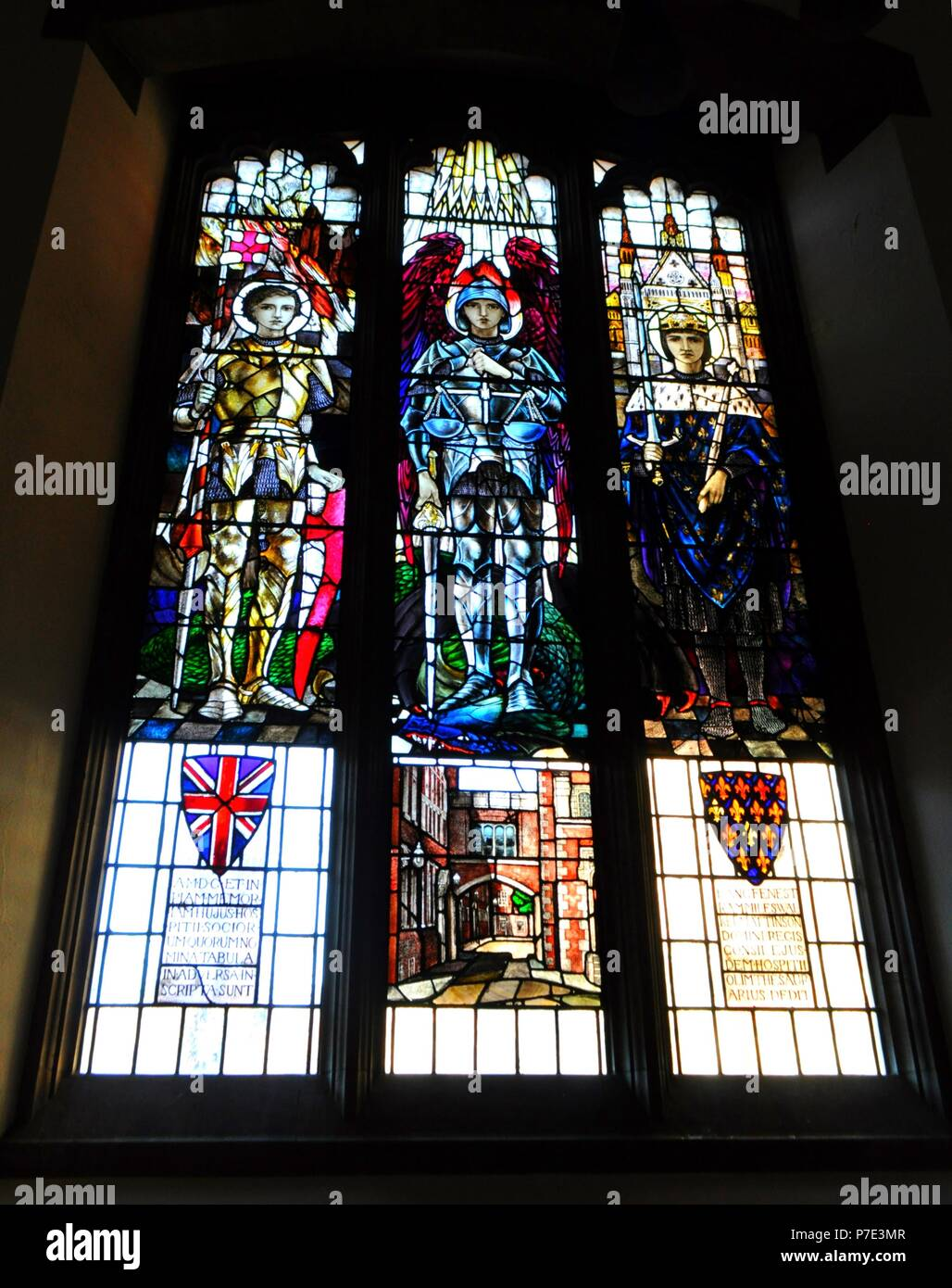 Stained glass window in Gray's Inn Chapel on South Square, London, UK. - Stock Image