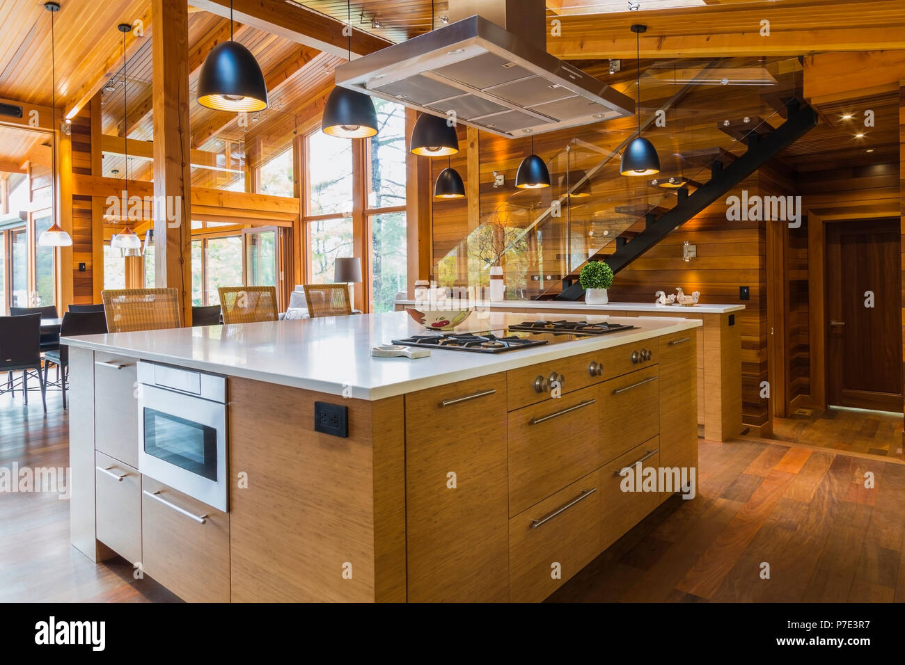 Bamboo Wood Kitchen Island With White Quartz Countertops Luxurious Cedar Wood Home Stock Photo Alamy