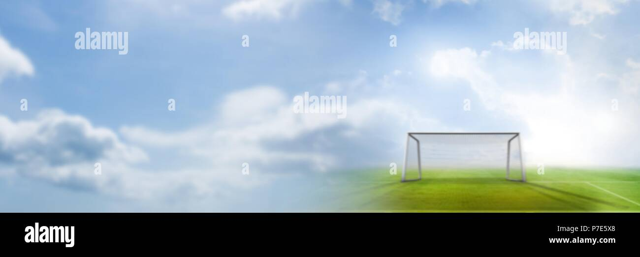Football goal pitch with transition Stock Photo