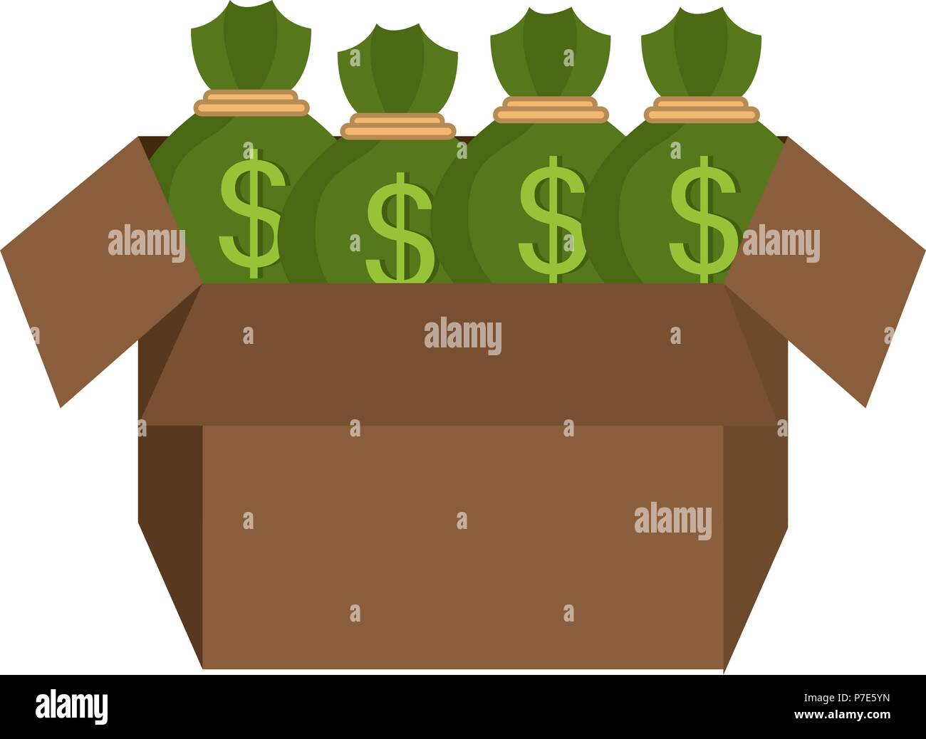carton box with money bags - Stock Vector