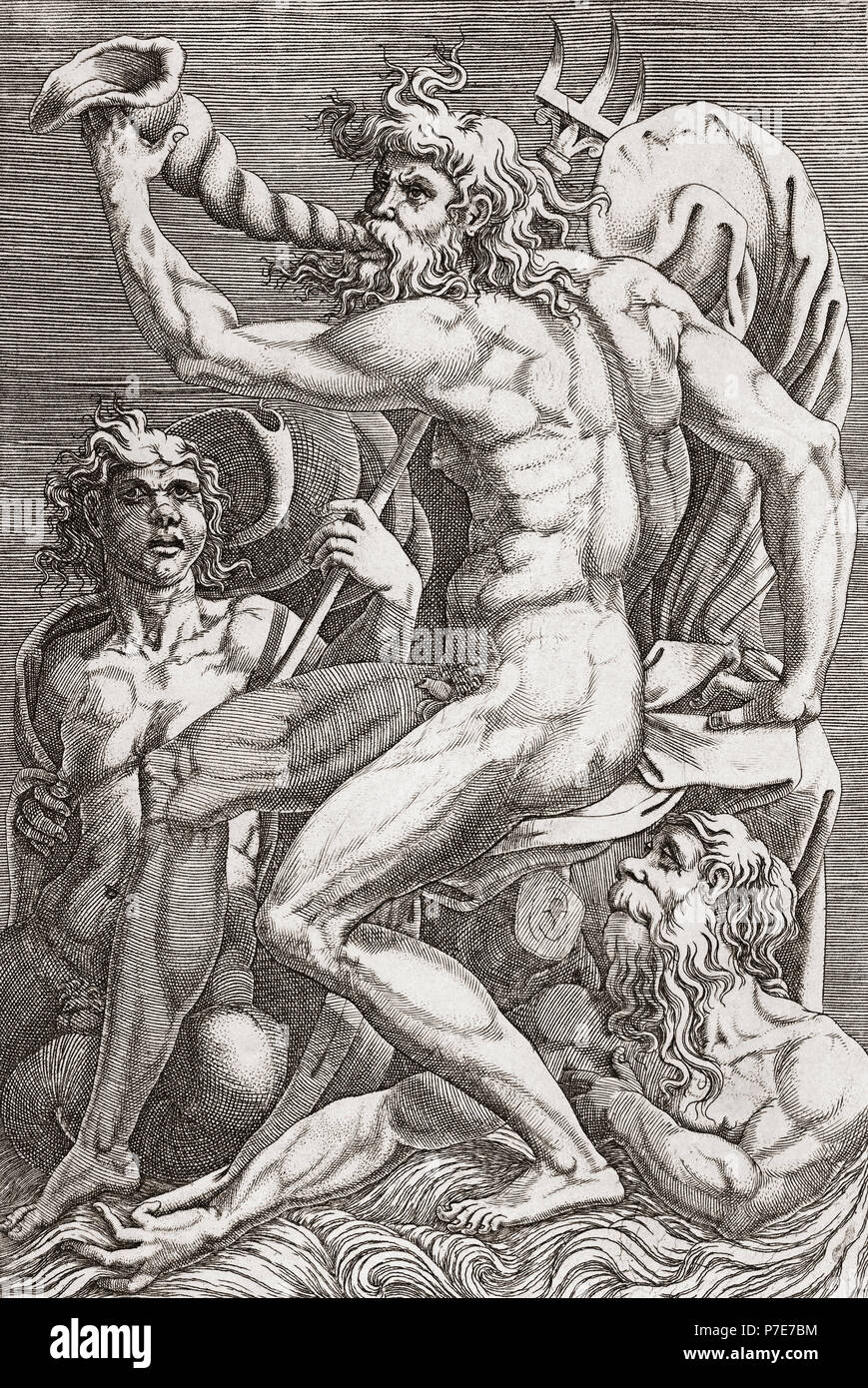Neptune.  After a 16th century engraving.  Neptune was the Roman god of the sea, and also of horses. - Stock Image