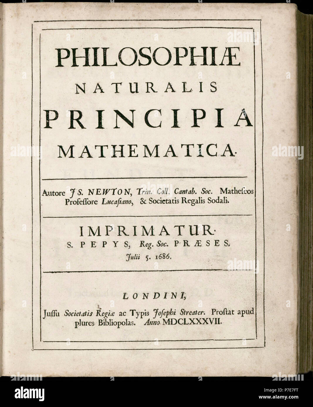 Philosophiæ Naturalis Principia Mathematica, by Isaac Newton.  (Mathematical Principles of Natural Philosophy).  Title page of first edition dated July 5, 1687. - Stock Image