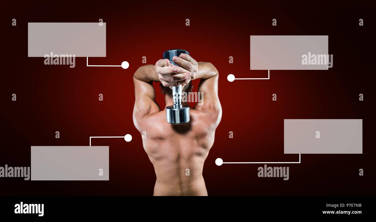 Bodybuilding weight lifter man with blank infographic chart panels - Stock Image