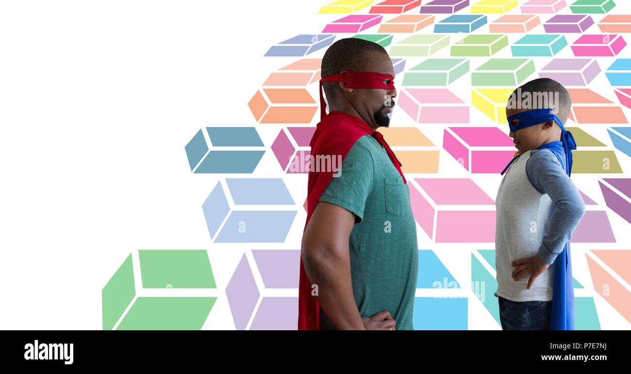 Father and son superheroes with colorful geometric pattern - Stock Image