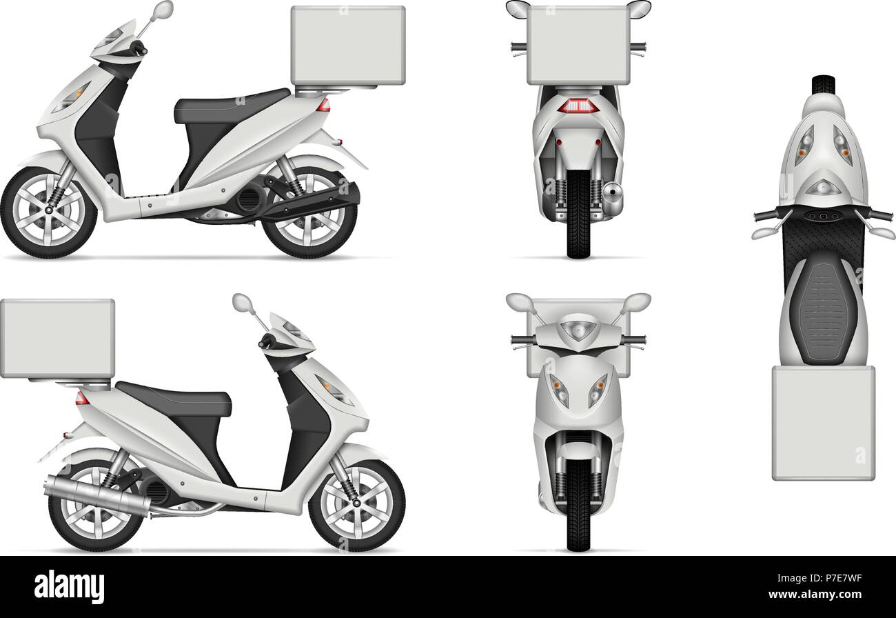 delivery scooter vector mockup on white for vehicle branding corporate identity view from side front back and top easy editing and recolor stock vector image art alamy https www alamy com delivery scooter vector mockup on white for vehicle branding corporate identity view from side front back and top easy editing and recolor image211140539 html