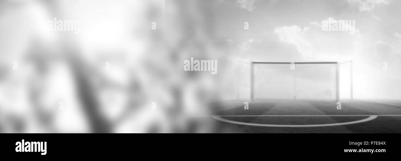 Football goal pitch with transition - Stock Image