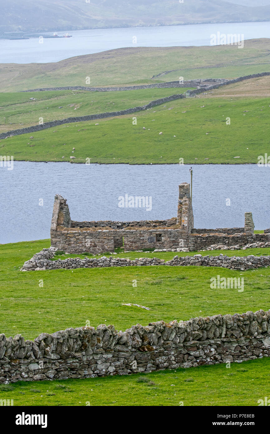 Dry stone / drystack wall and remains of croft, abandoned during the Highland Clearances, Shetland Islands, Scotland, UK - Stock Image