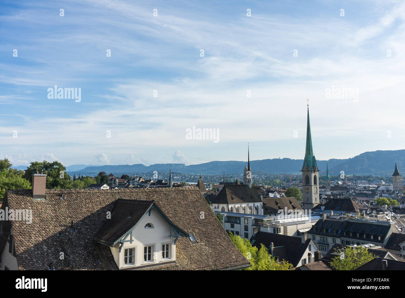 Scenery of old town of Zurich, Switzerland from University hill on a summer day - Stock Image