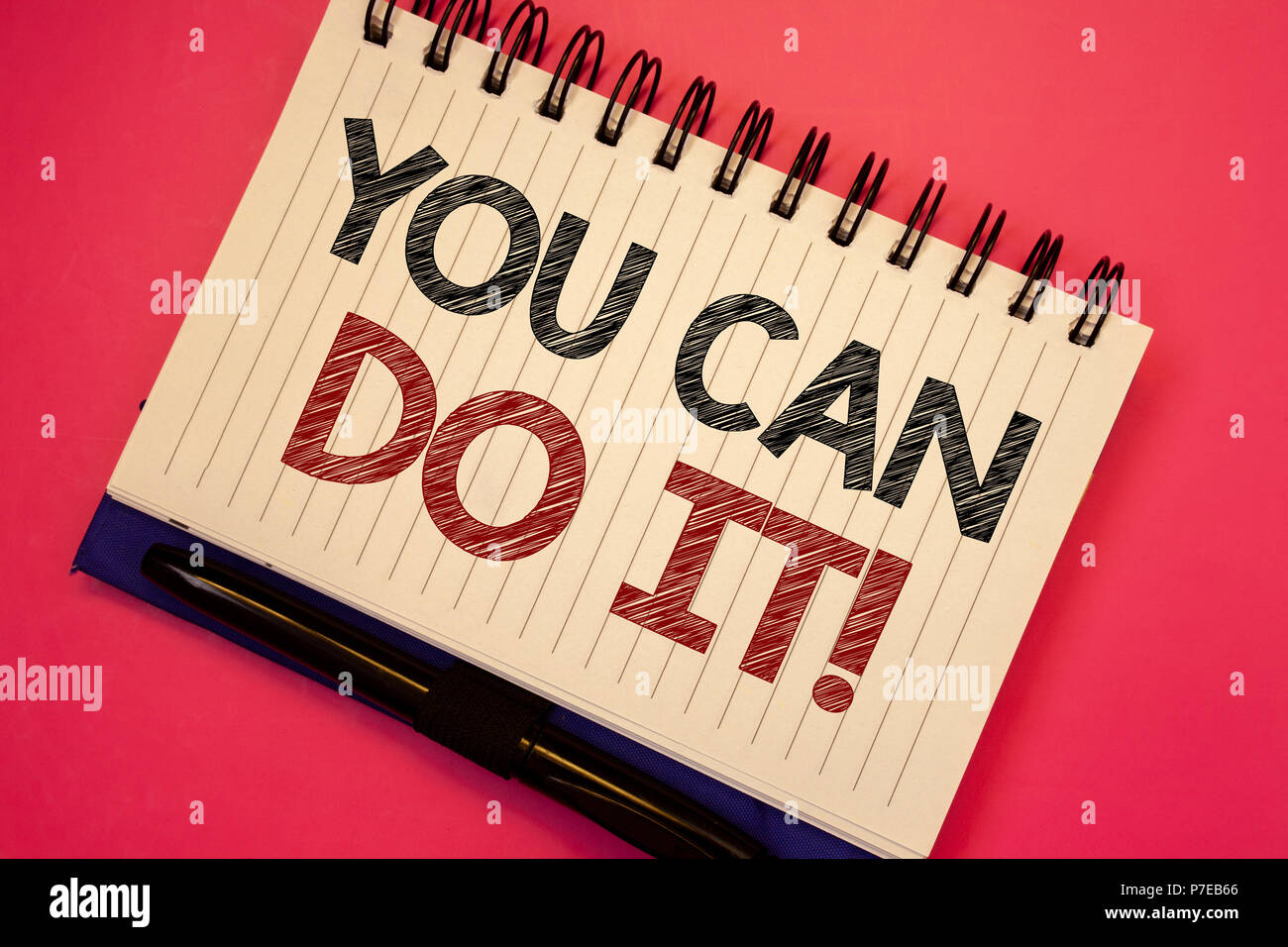 Word writing text You Can Do It Motivational Call. Business concept for Inspirational Message Motivational Positive Text two Words notes written white - Stock Image