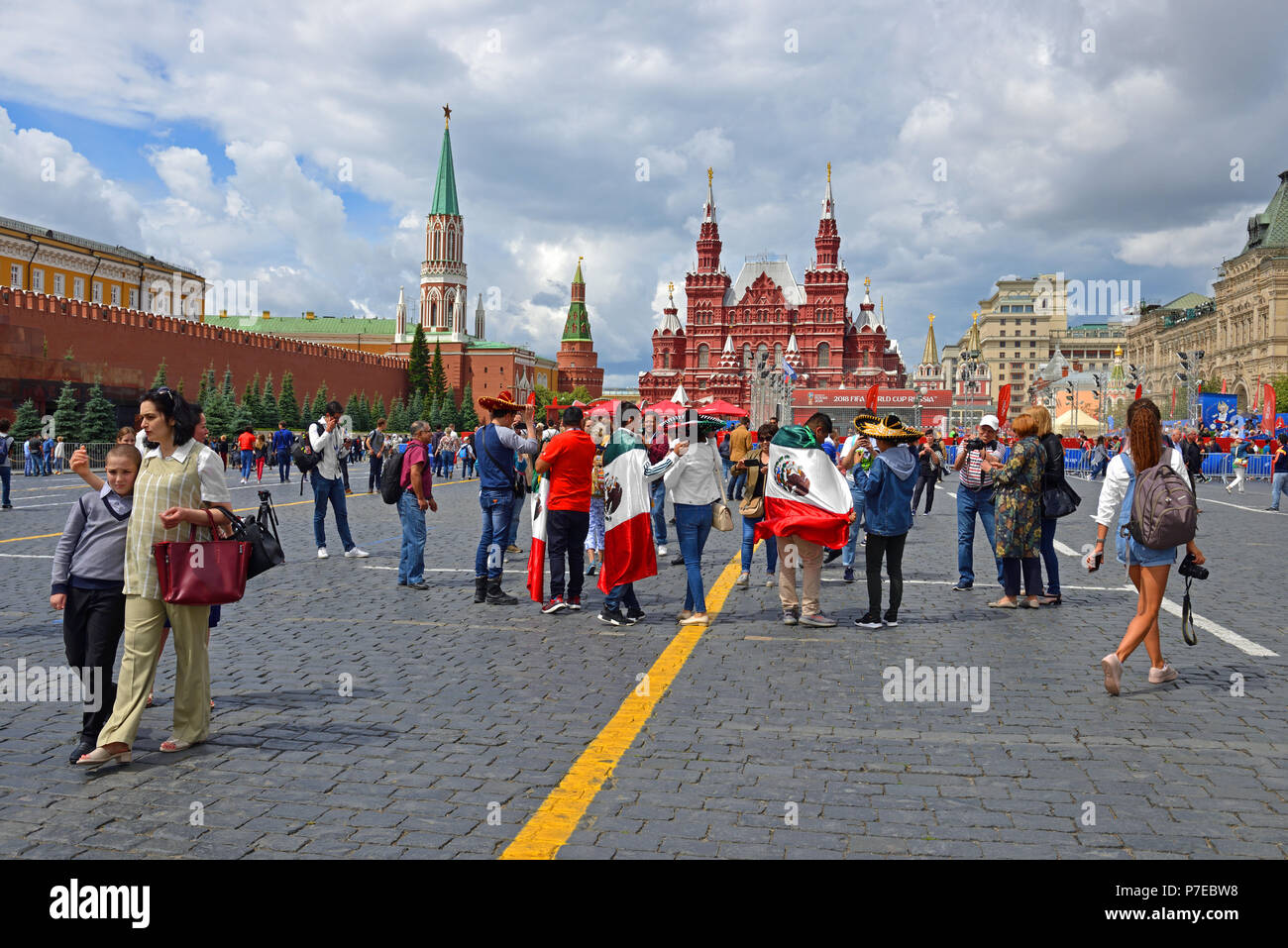 2018 FIFA World Cup. Mexican fans and tourists from different countries on Red Square - Stock Image