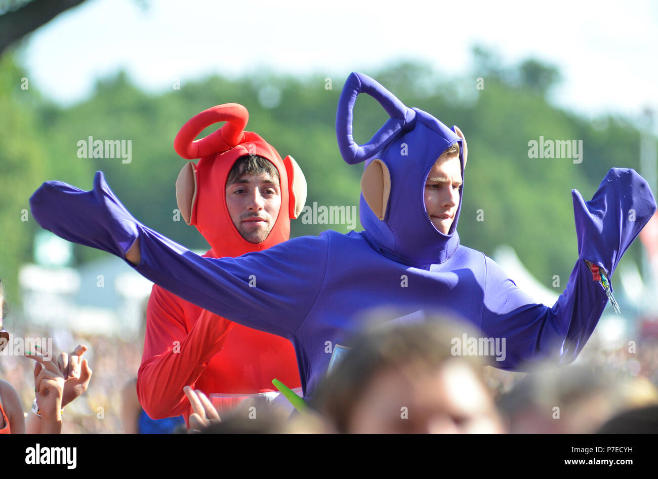 Music Fans Waving Hands in the Air at a Music Festival - Stock Image
