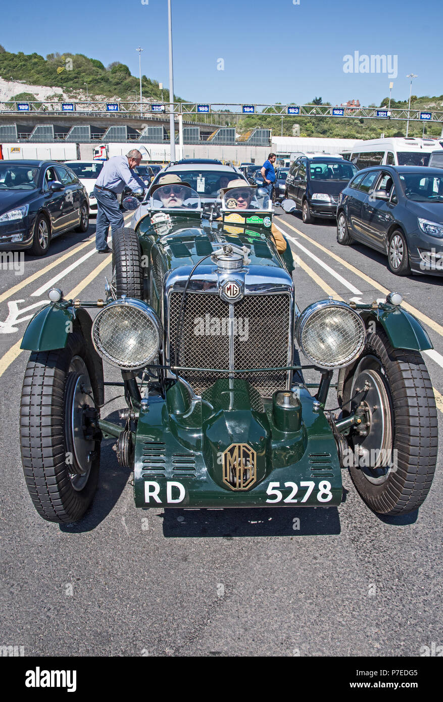 Green 1934 MG sportscar. This is a 2 rigid axle 1086cc petrol driven vintage car waiting to board a car ferry from Dover to Calais Stock Photo