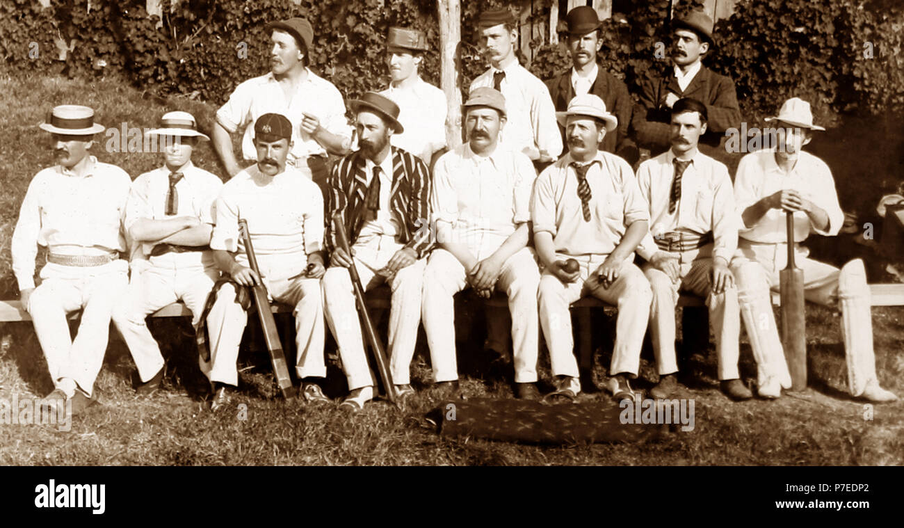 A village cricket team, early 1900s - Stock Image