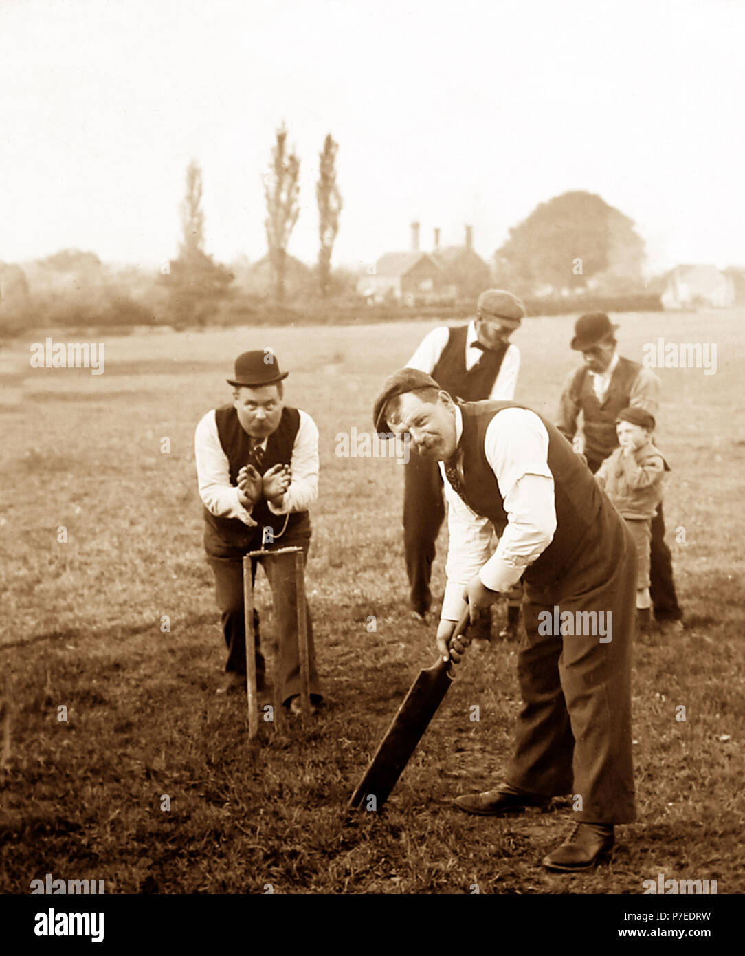 A village cricket match, early 1900s - Stock Image
