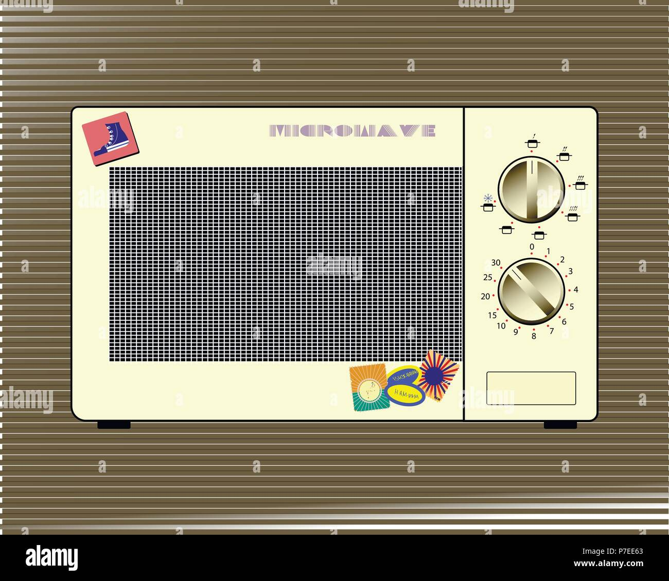 homemade old microwave oven with stickers on a brown background - Stock Vector