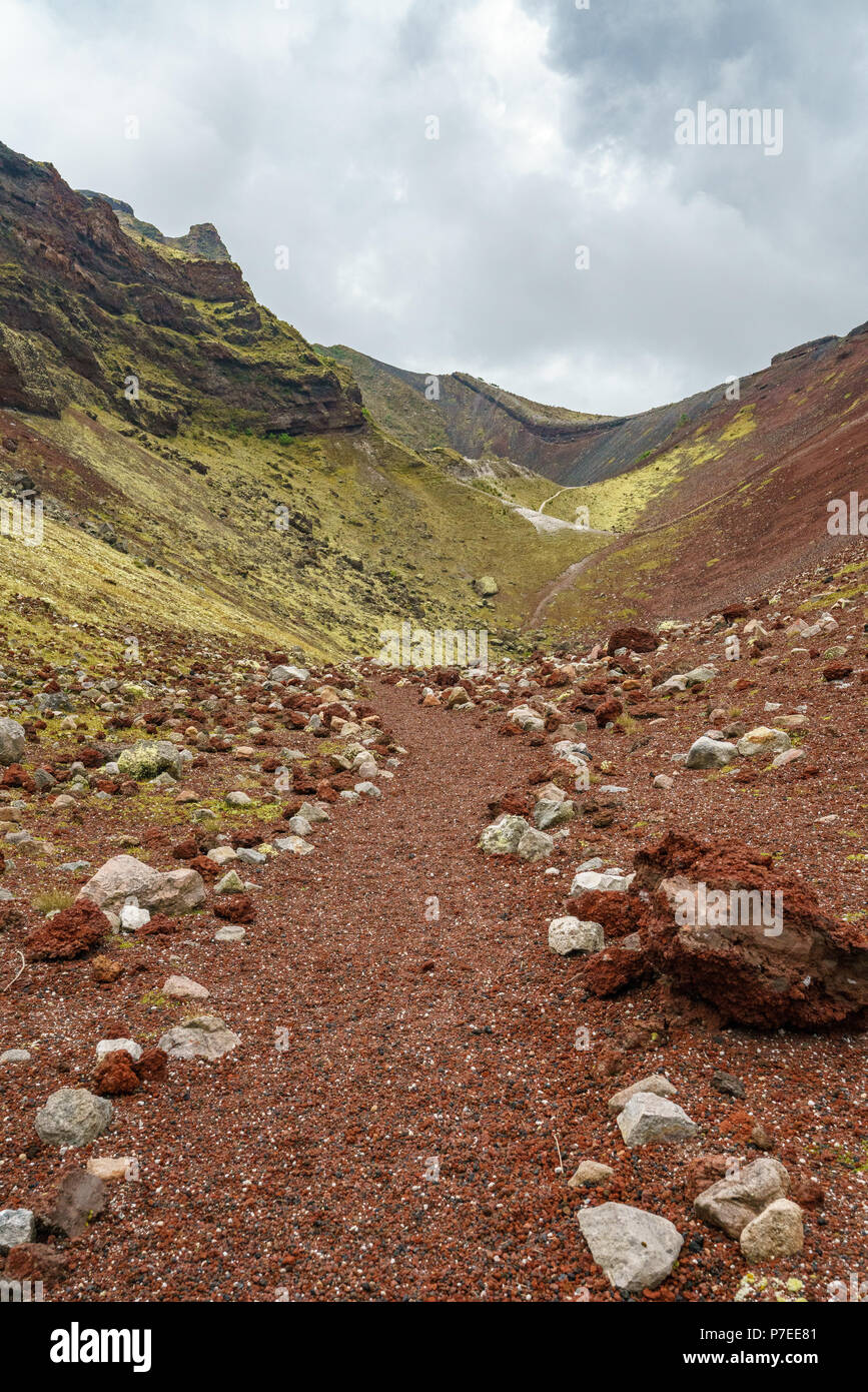 rocks and stones in red volcanic crater,mount tarawera,new zealand Stock Photo