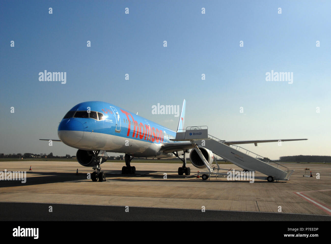 Thomson jet plane on airside tarmac at the Doncaster Sheffield Airport, formerly named Robin Hood Airport Doncaster Sheffield, - Stock Image