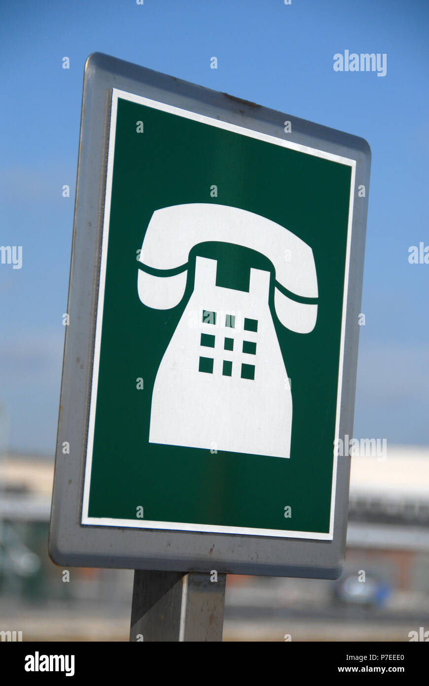 Airside staff telephone sign in green for staff only at the Doncaster Sheffield Airport, formerly named Robin Hood Airport Doncaster Sheffield, - Stock Image