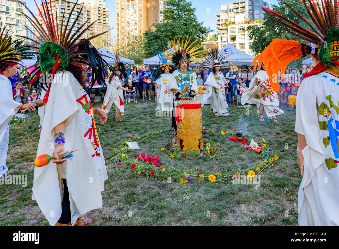 Aztec Dance Group, Gathering Festival, Summer Solstice Celebration, Vancouver, Emery Barnes Park, British Columbia, Canada. - Stock Image