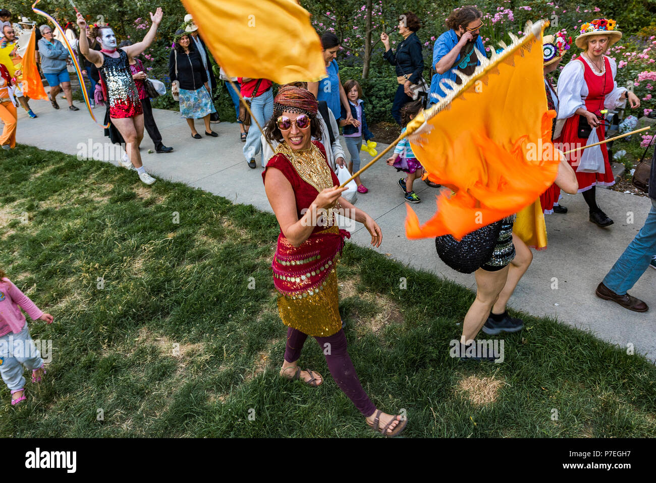 The Gathering Festival, Summer Solstice Celebration, Vancouver, Emery Barnes Park, British Columbia, Canada. - Stock Image