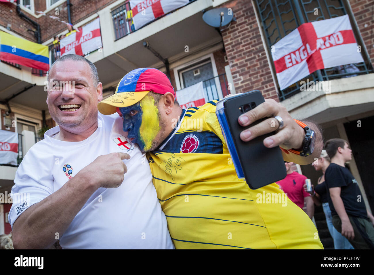 Members of London's Colombian community watch the Colombian national football team play against England during FIFA 2018 World Cup finals. - Stock Image