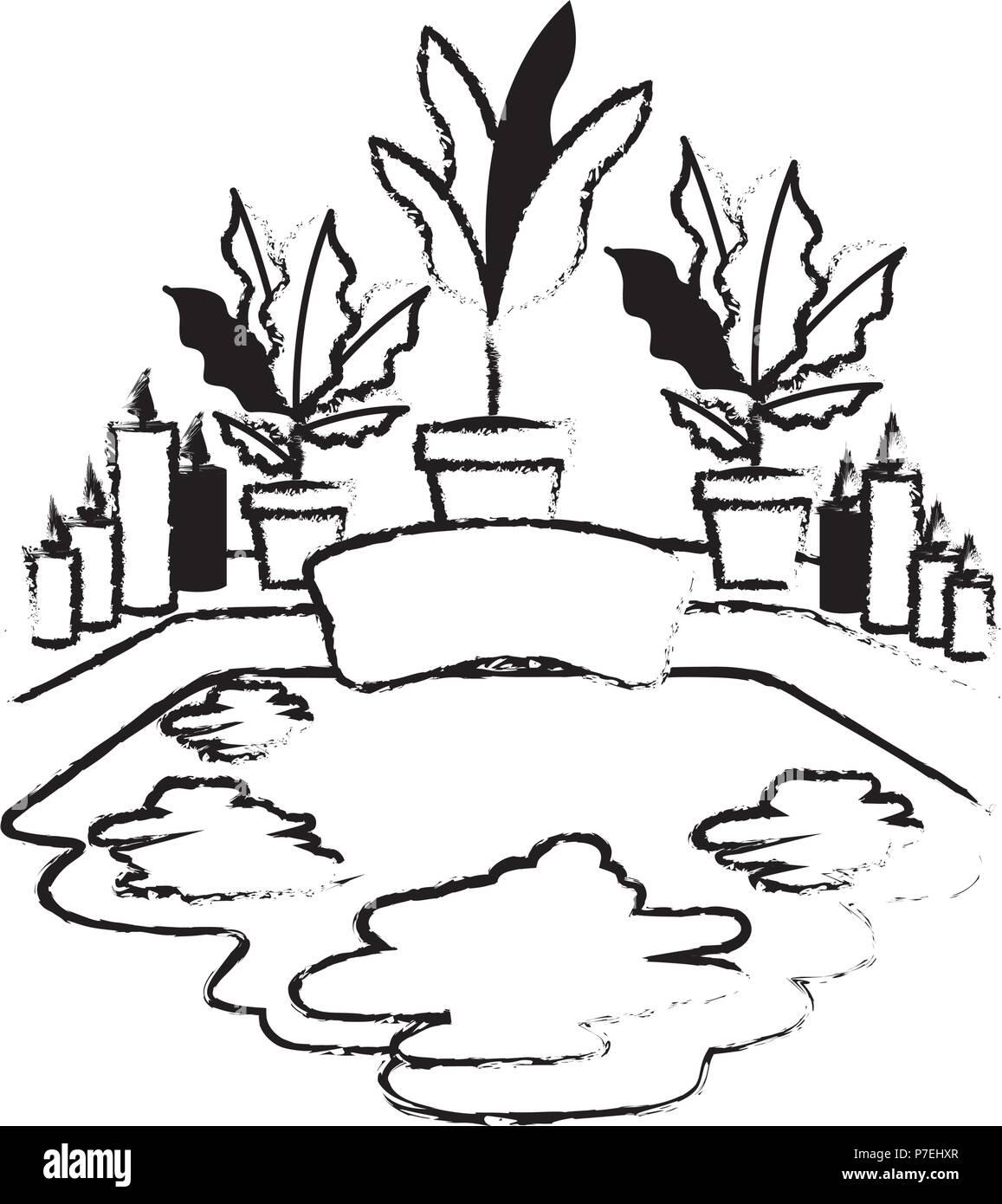 bathtub with houseplants scene - Stock Vector