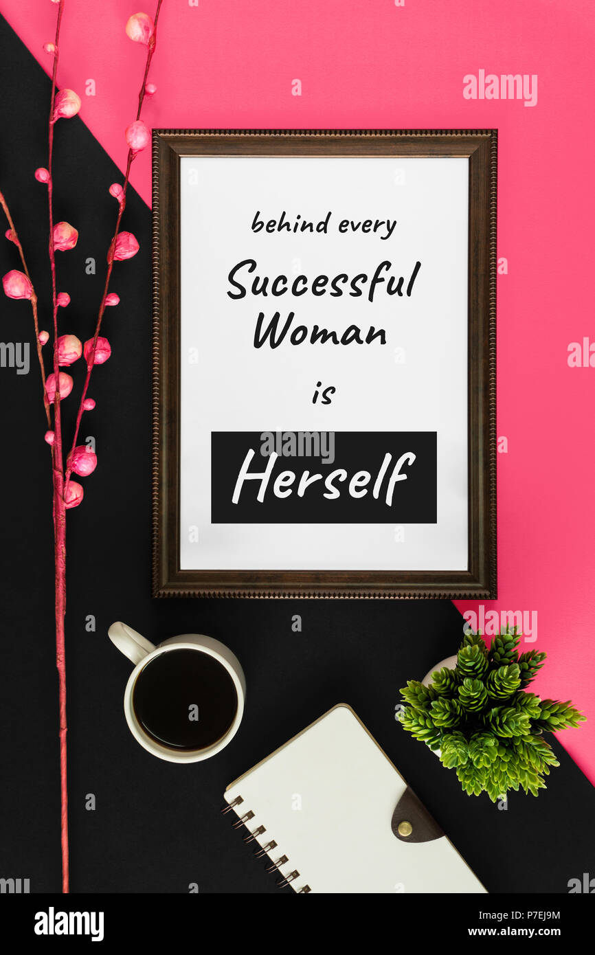 Wood Frame With Motivational And Inspirational Wisdom Quote On Pink