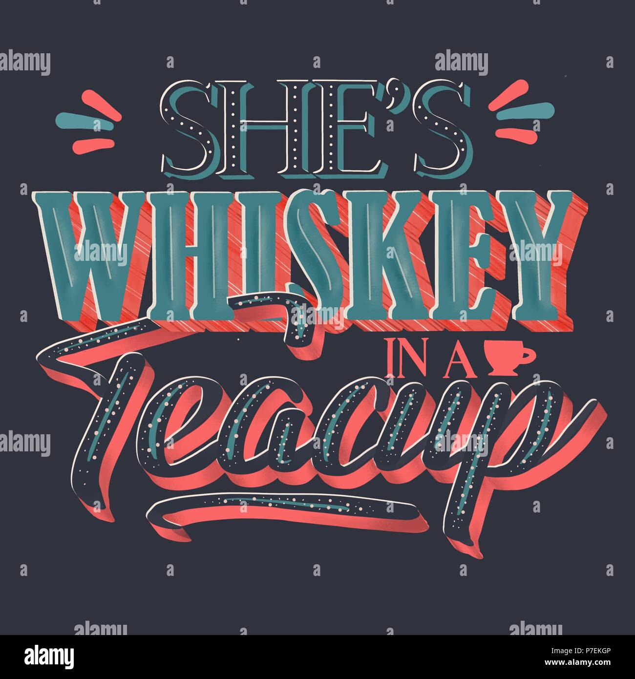 She Is Whiskey In A Teacup Frame With Stars Vintage Americana Label Style