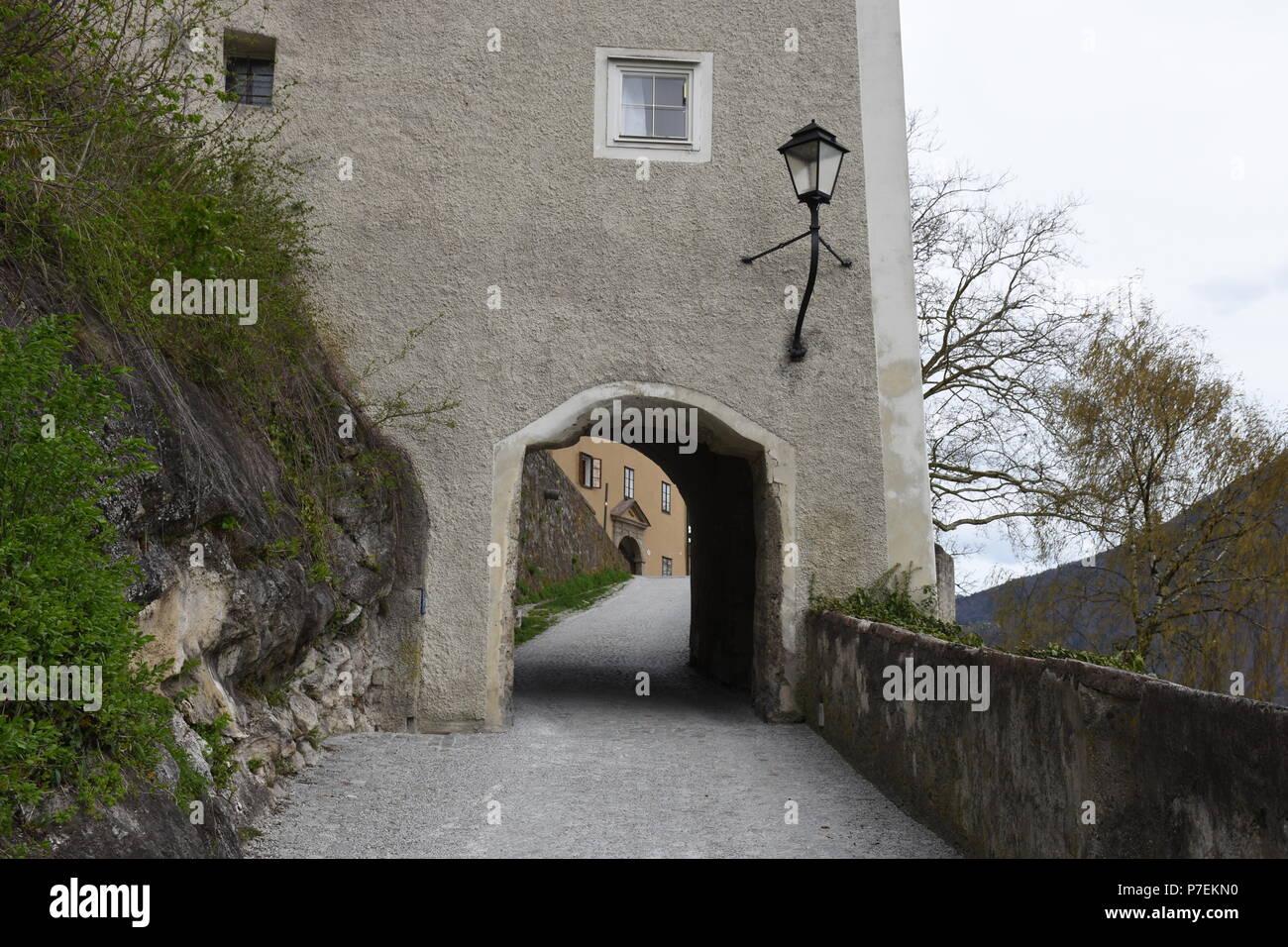 Salzburg, Mozart, Mozartstadt, Jedermann, Hohensalzburg, Burg, Mönchsberg, Kapuzinerberg, Festung, Mauer, Treppe, Stiege, Weg, Stufen, Kirche, Kirchtu - Stock Image