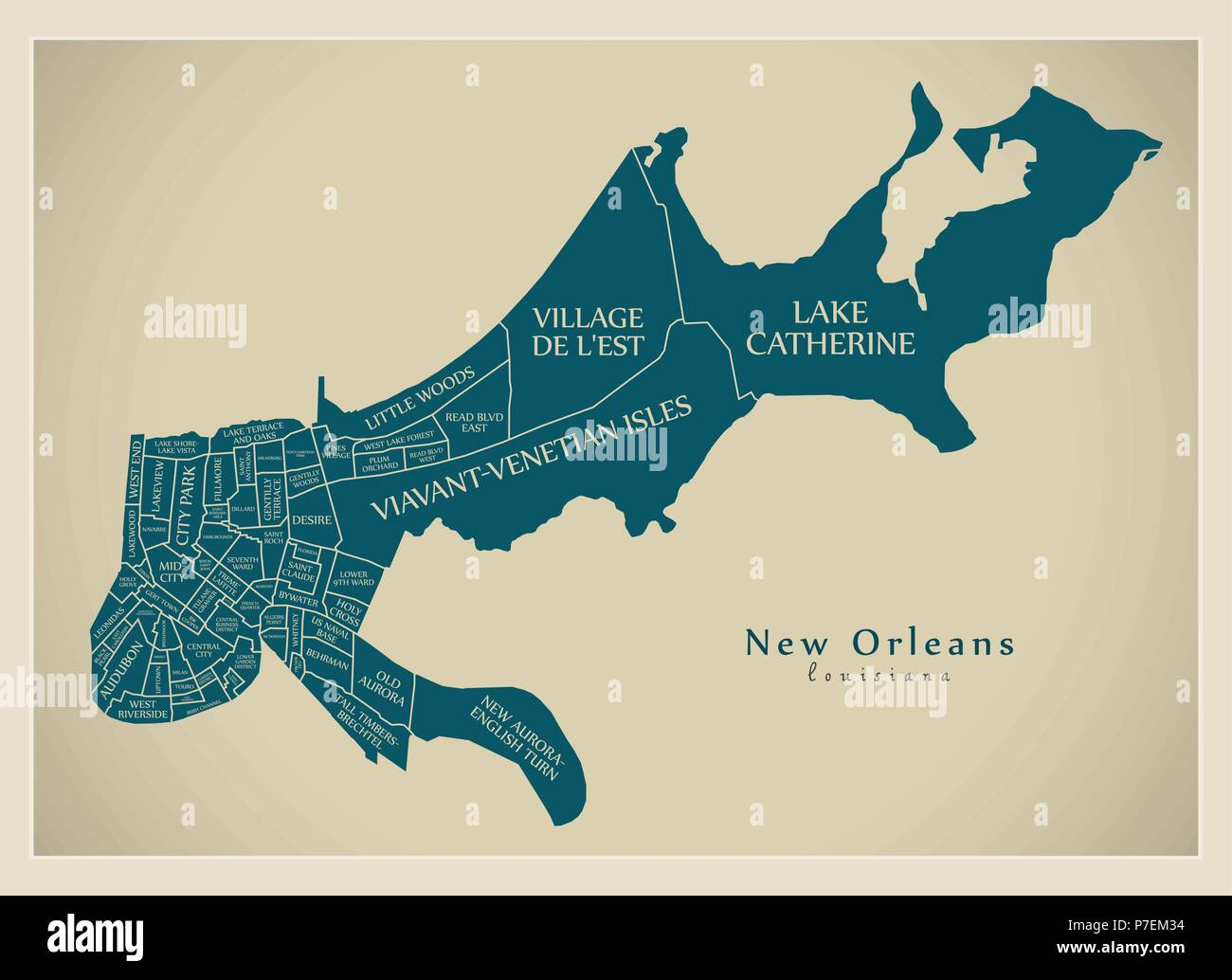 Modern City Map New Orleans Louisiana City Of The Usa With