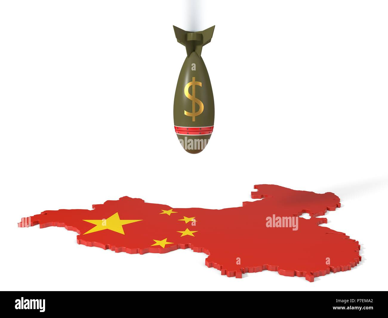 economy and trade wars concept with dollar currency bomb and china country map. 3d illustration - Stock Image
