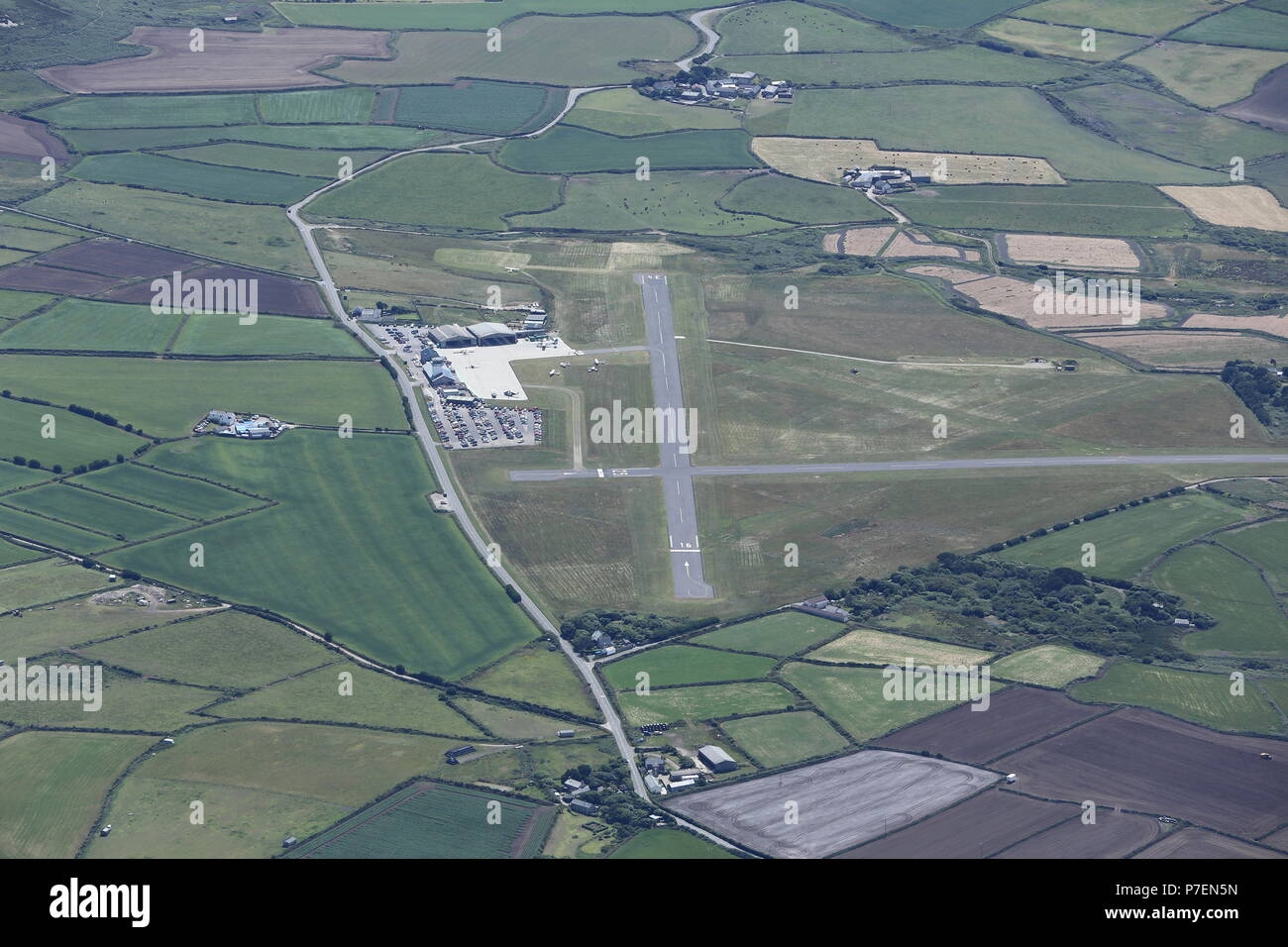 An aerial view of Land's End Airport - Stock Image