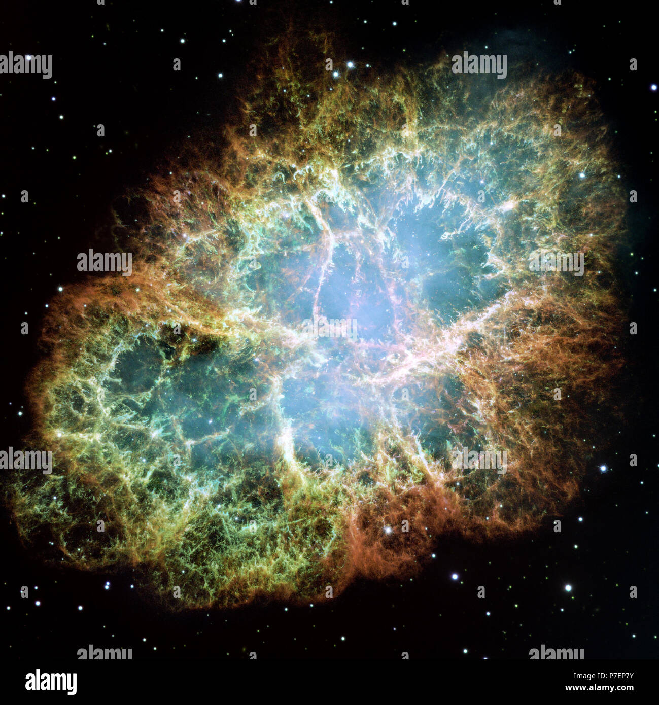 The Crab Nebula is one of the most intricately structured and highly  dynamical objects ever observed. The new Hubble image of the Crab was  assembled from 24 individual exposures taken with the NASA/ESA Hubble  Space Telescope - Stock Image