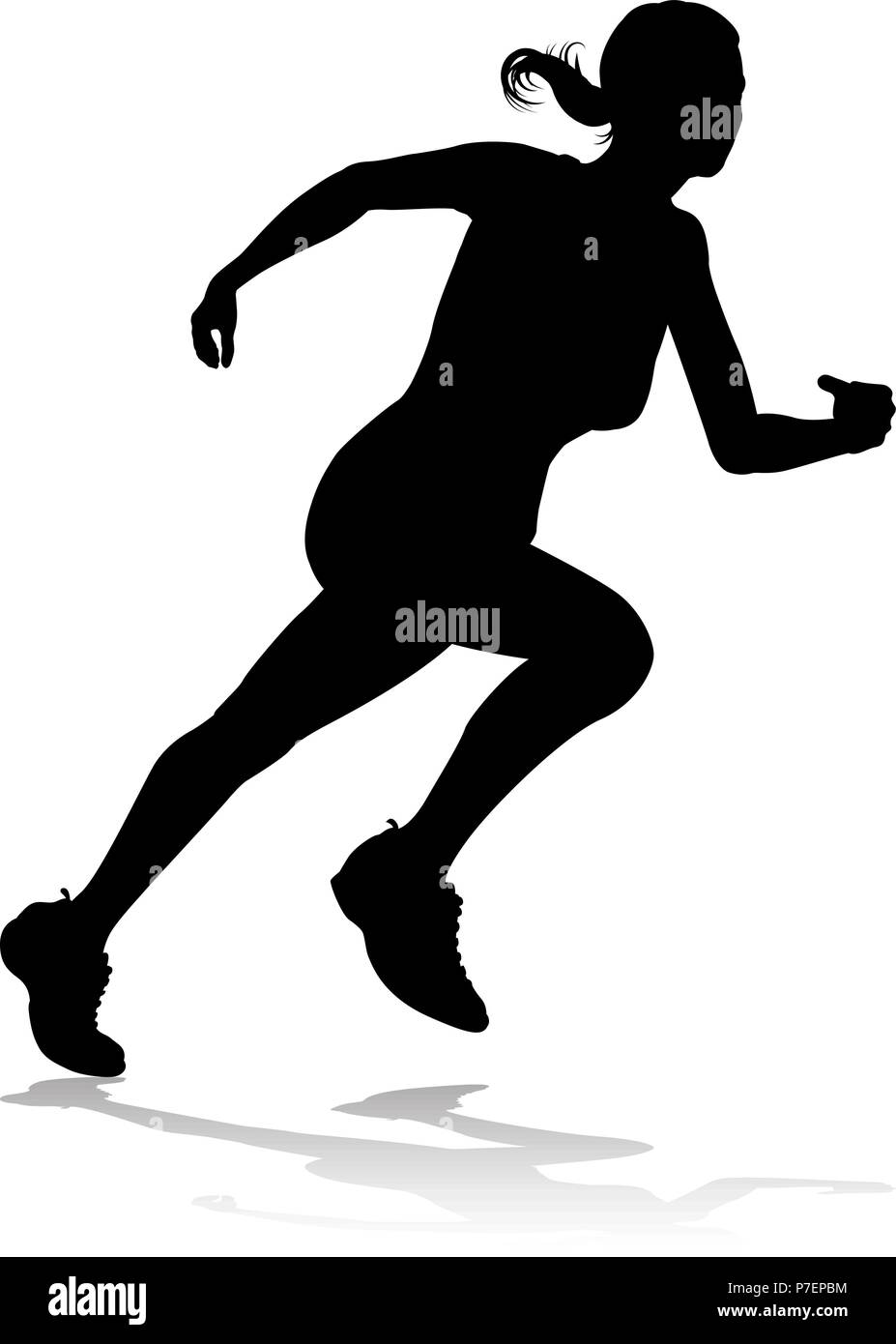 Runner Racing Track and Field Silhouette Stock Vector