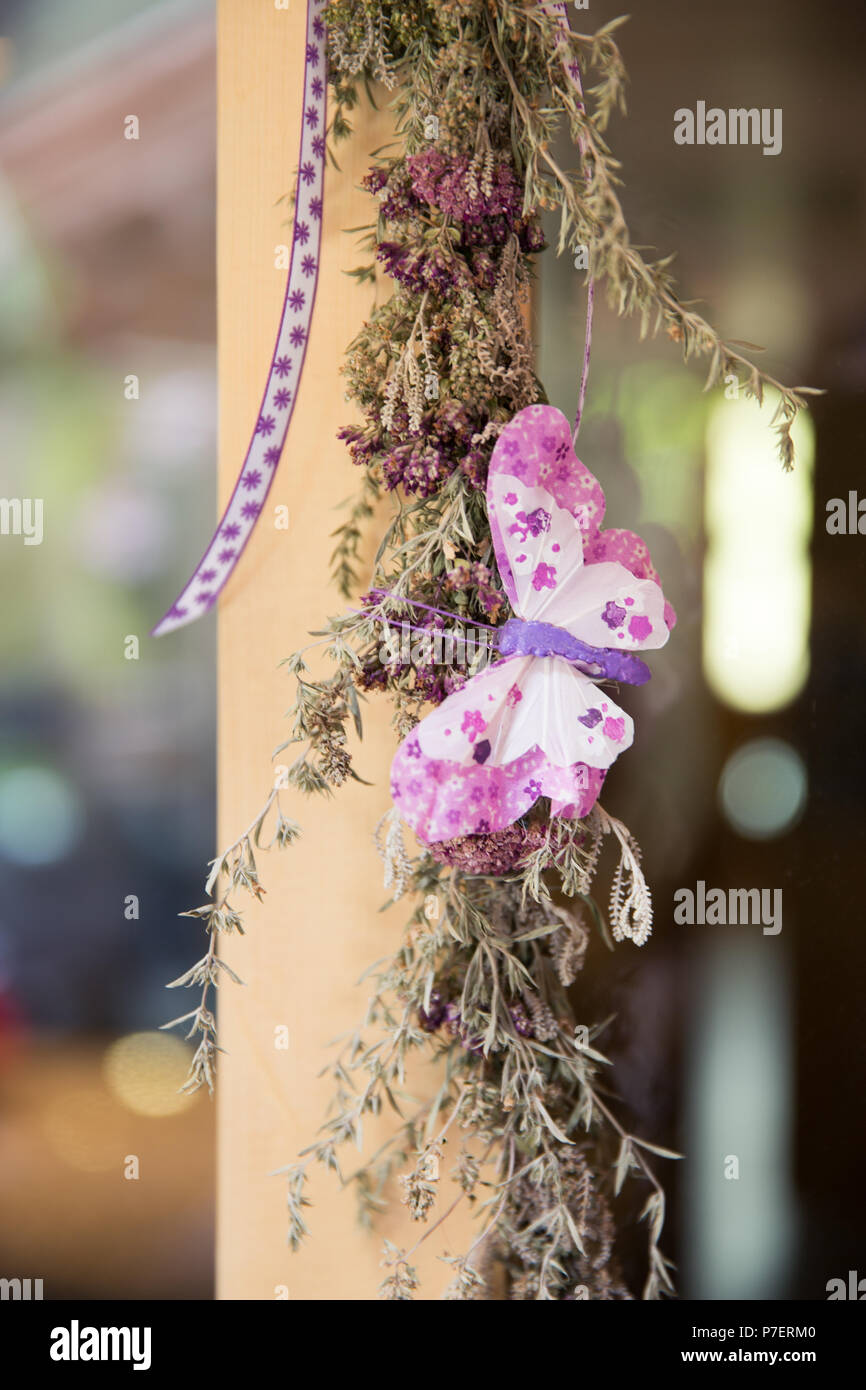 Home made Decoration on Natural Lavender, Garden Plants and Butterfly - Stock Image