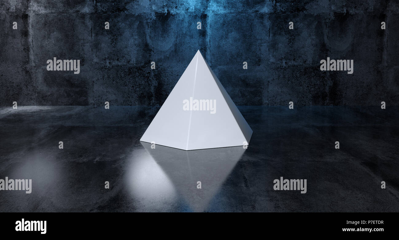 Abstract Geometric Simple Primitive Shape White Pyramid In Realistic Dark Concrete Room Texture With Blue Light 3D Rendering - Stock Image