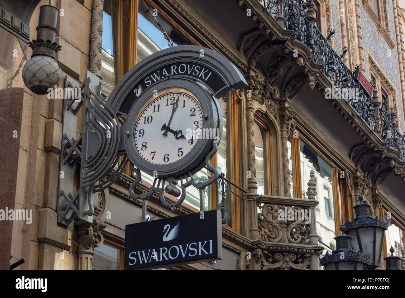 1fe552f201a BUDAPEST, HUNGARY - JULY 5, 2018: SWAROVSKI fashion store. Swarovski is an