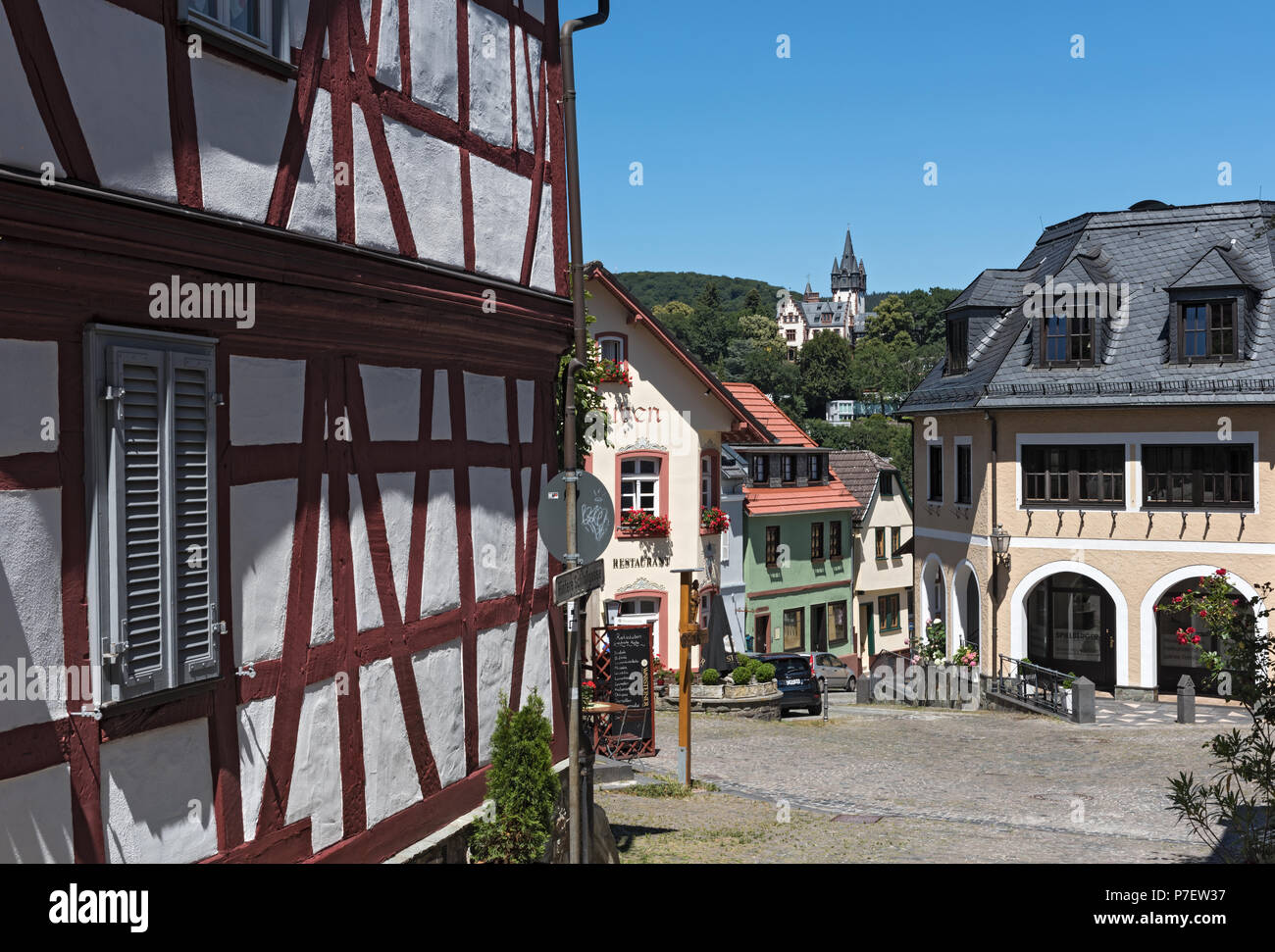 small square with old houses at Konigstein old town, Hesse, Germany - Stock Image