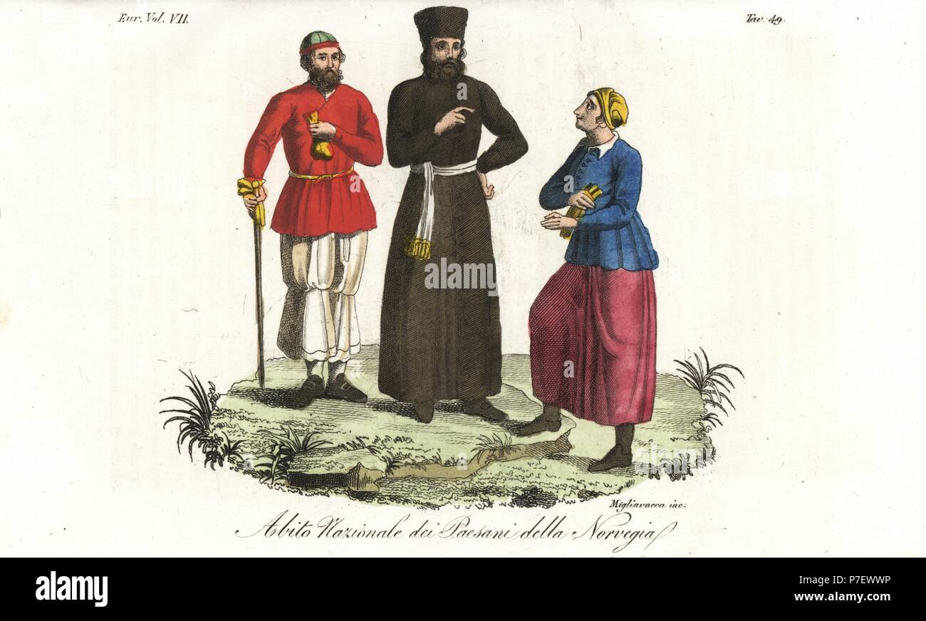 National dress of the peasants of Norway, including a farmer who looks like an Armenian ecclesiastic, 18th century. Handcoloured copperplate engraving by Migliavacca from Giulio Ferrario's Costumes Ancient and Modern of the Peoples of the World, Florence, 1847. Stock Photo