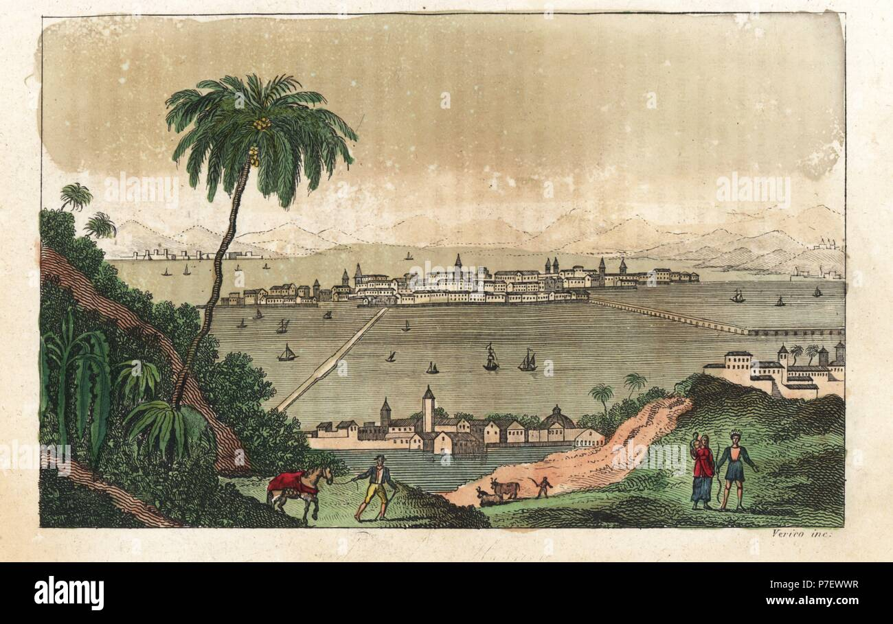 View of Mexico City, circa 1820  Handcoloured copperplate