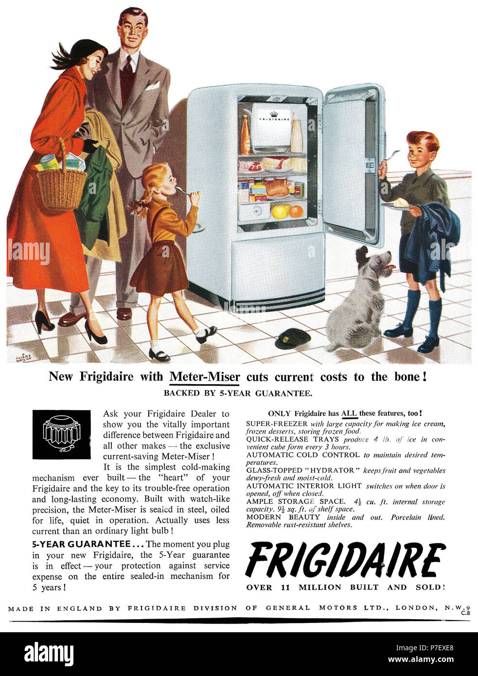 1950 British advertisement for Frigidaire, illustrated by Charles 'Clixby' Watson. - Stock Image