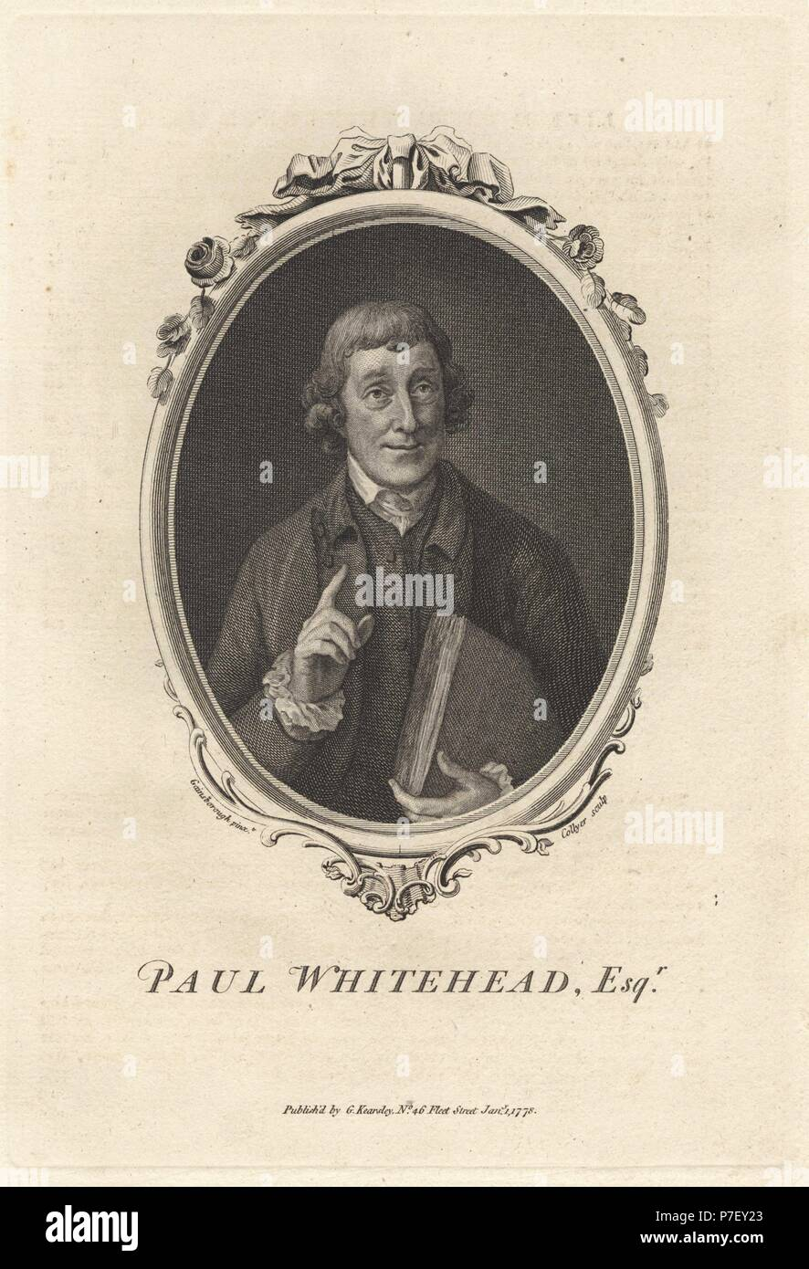Portrait of Paul Whitehead, 1710–1774, British satirist and secretary to the Hellfire Club. Copperplate engraving by Joshua Collyer after Thomas Gainsborough from The Copper Plate Magazine or Monthly Treasure, G. Kearsley, London, 1778. Stock Photo