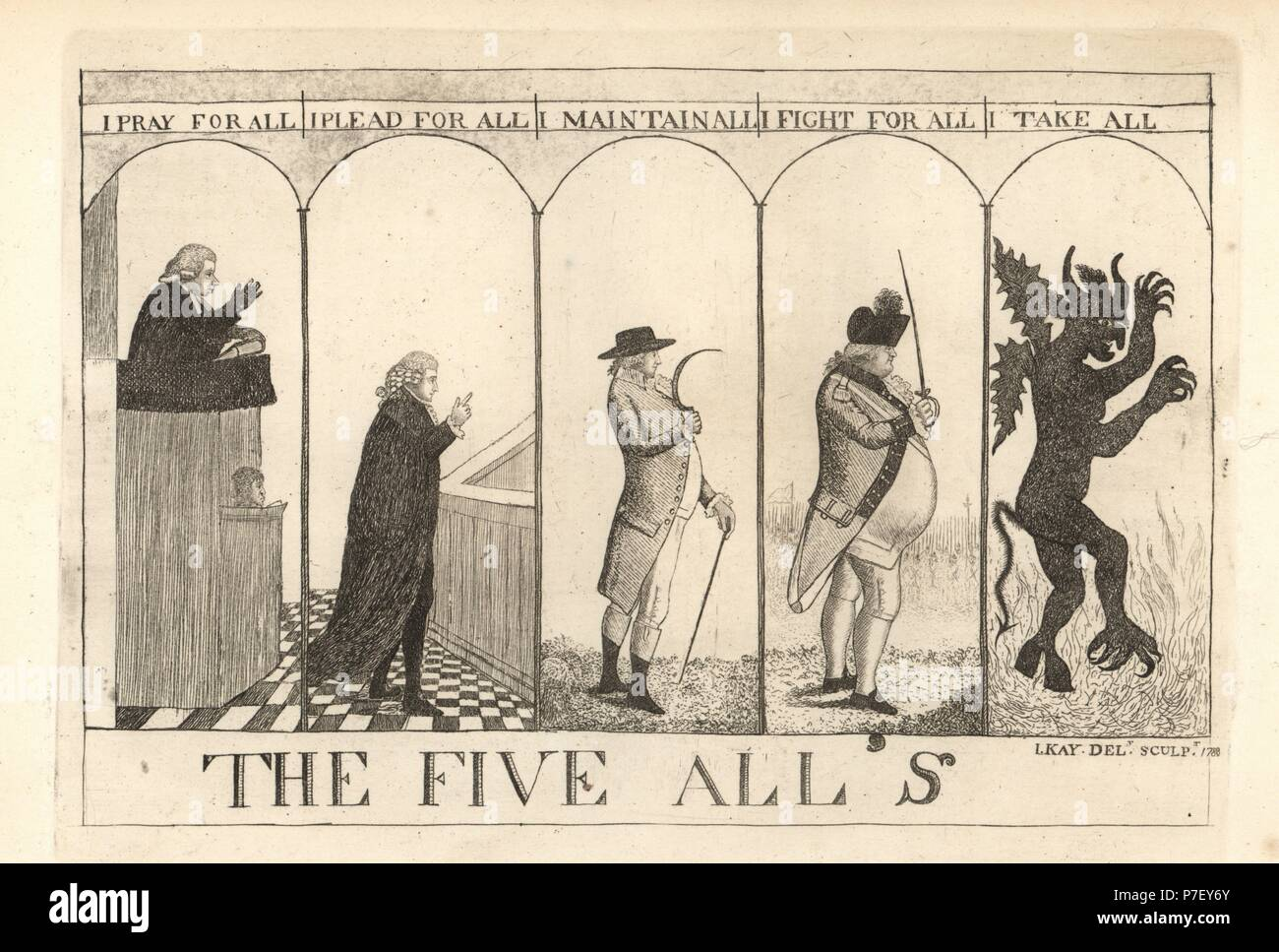 The Five Alls: preacher Reverend Andrew Hunter, lawyer Henry Erskine, farmer James Rocheid, soldier Quarter-Master Taylor and his Satanic Majesty the Devil. Copperplate engraving by John Kay from A Series of Original Portraits and Caricature Etchings, Hugh Paton, Edinburgh, 1842. - Stock Image